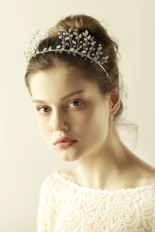 Accessori capelli da sposa con fascia in diadema e velo da sposa in stock Kim Kardashia con strass splendidi copricapi CPA908