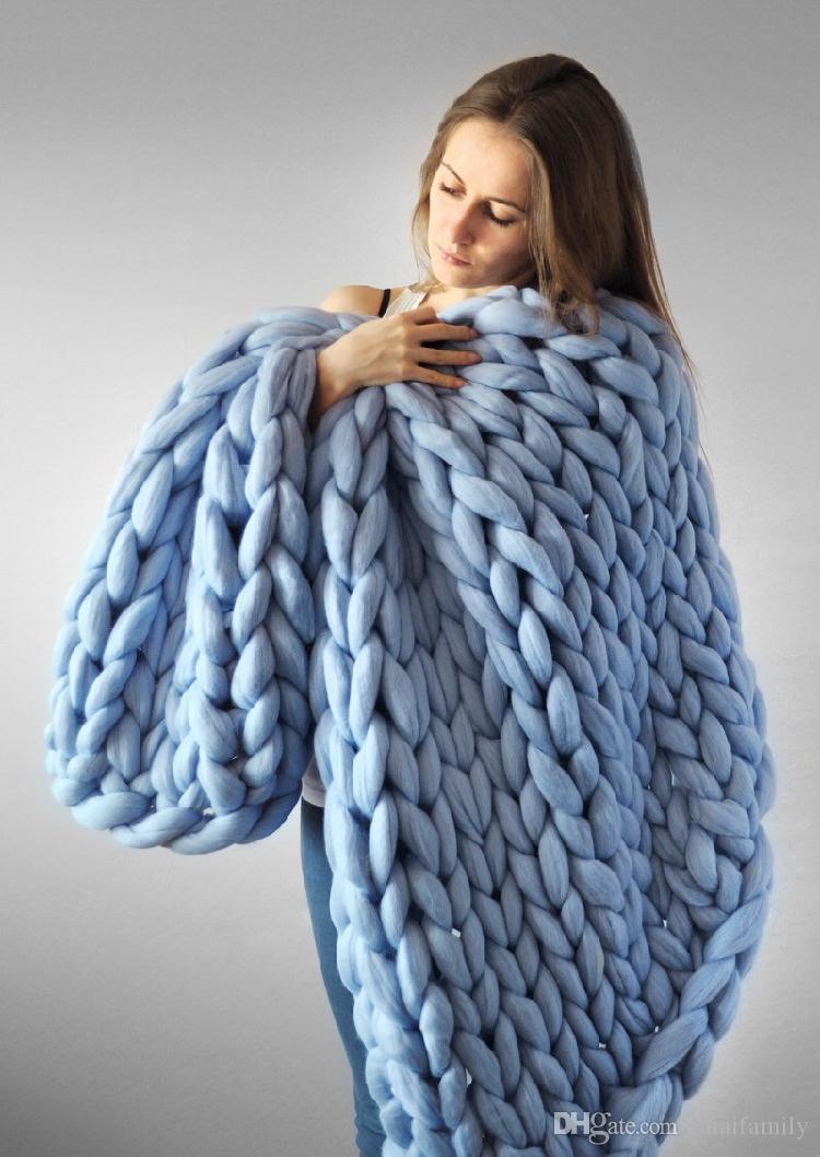 60 * 60 cm 100 * 80 cm Warme Chunky Knit Decke Dickes Gesponnenes Garn Wolle Sperrige Gestrickte Werfen Kinitted Werfen Foto Decke schnelles verschiffen