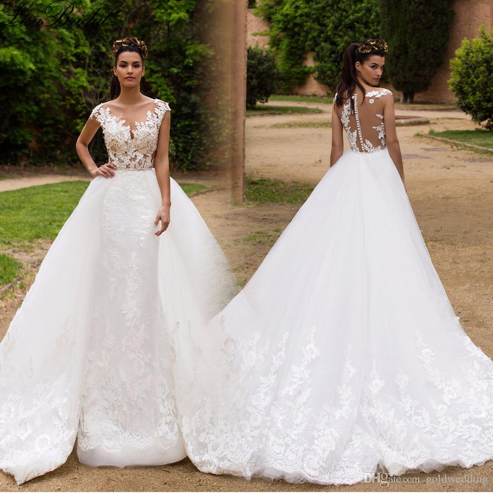 New Sexy Illusion Lace Appliques Mermaid Wedding Dresses