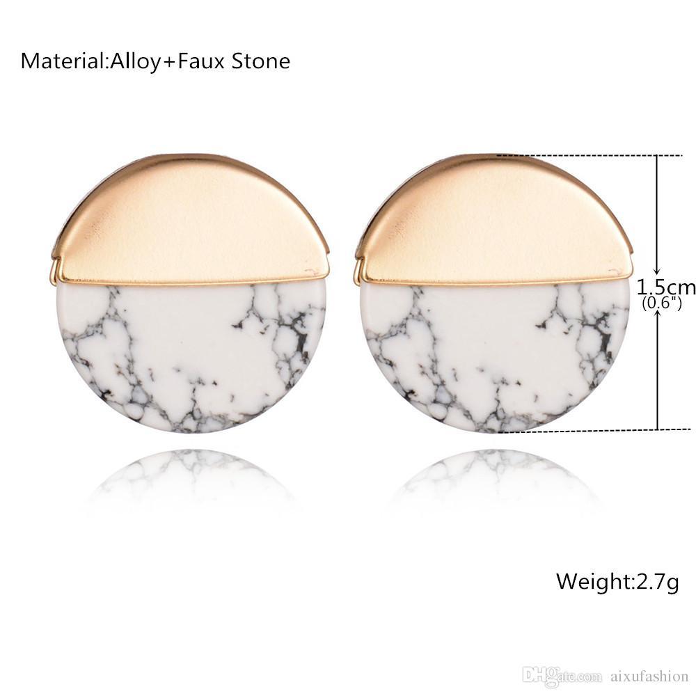 Pendientes redondos turquesas redondas Venta caliente aleación de las mujeres Joyería Pendientes geométricas simples personalizada moda 2017 Nuevo
