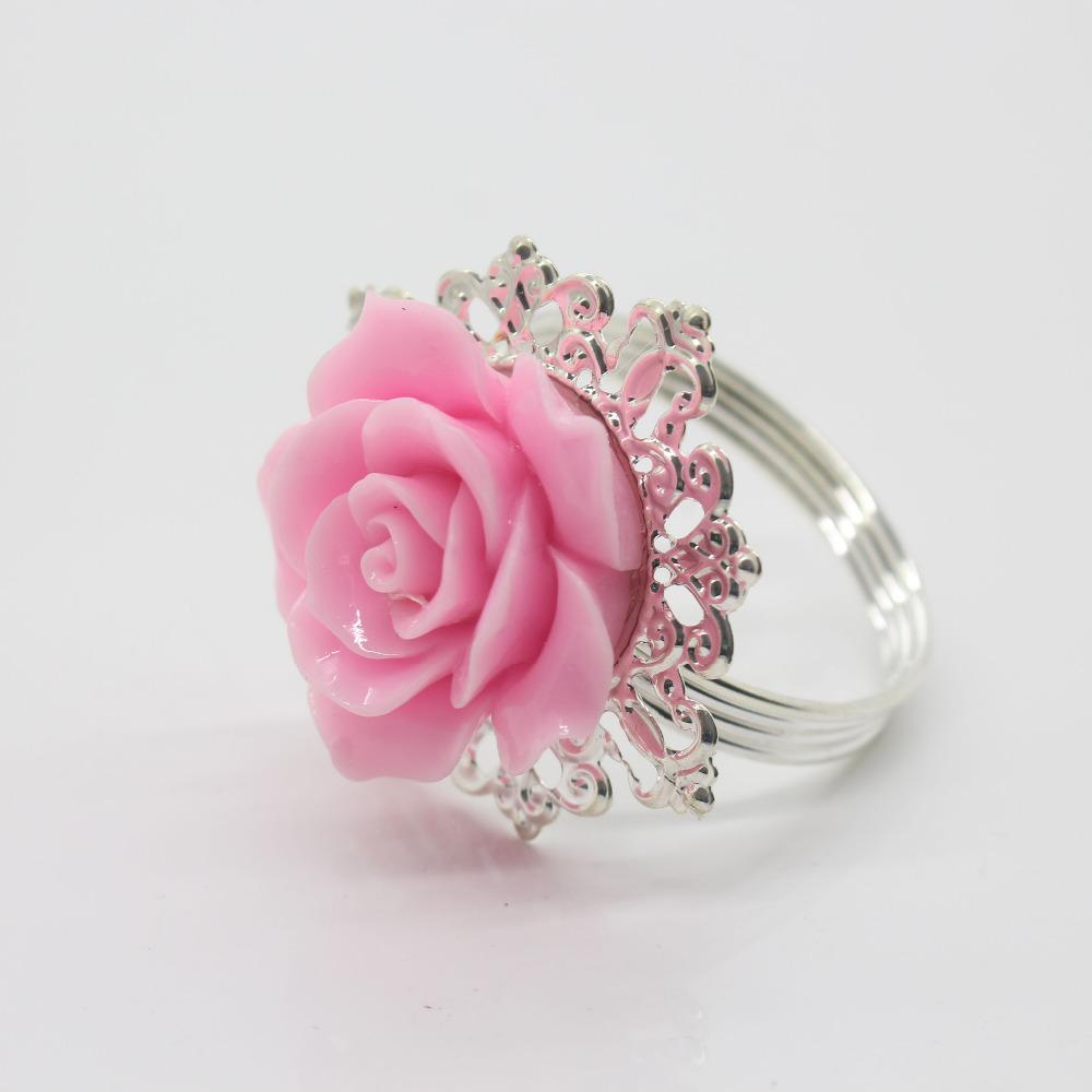 Wholesale Pink Rose Decorative Silver Napkin Ring Serviette Holder ...