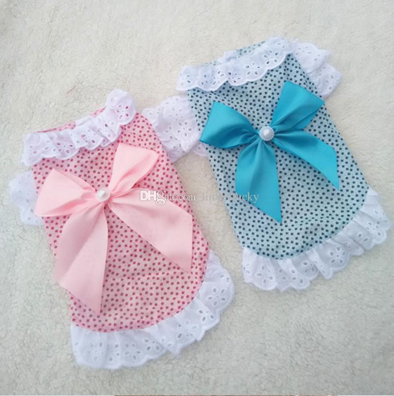 Cute Dog pet supplies Shirt Dress with bowknot Summer Soft Cotton Printing Bow Pet Puppy floral print Dress Pet dog t shirt