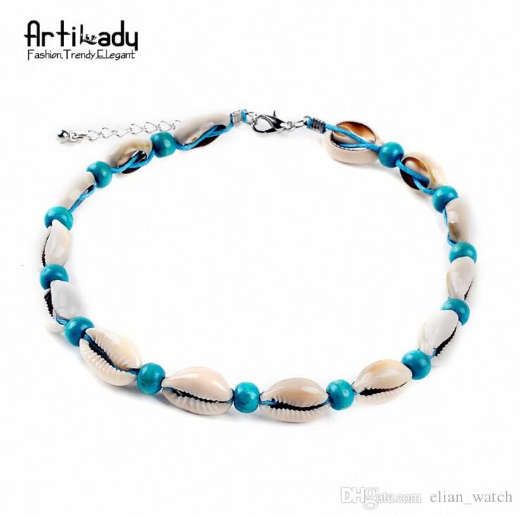 Moda collana di conchiglie di conchiglia naturale vintage corda di velluto perline conchiglia naturale boho gioielli boho le donne