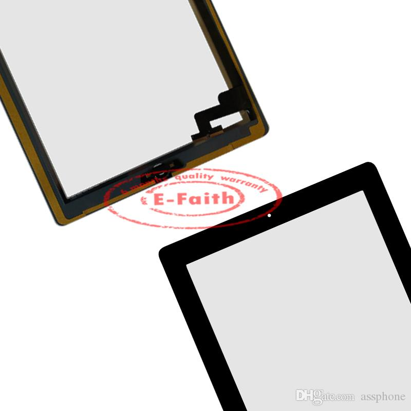 For iPad 2 Black Touch Screen Digitizer Replacement with Home Button+ Adhesive & Free DHL shipping