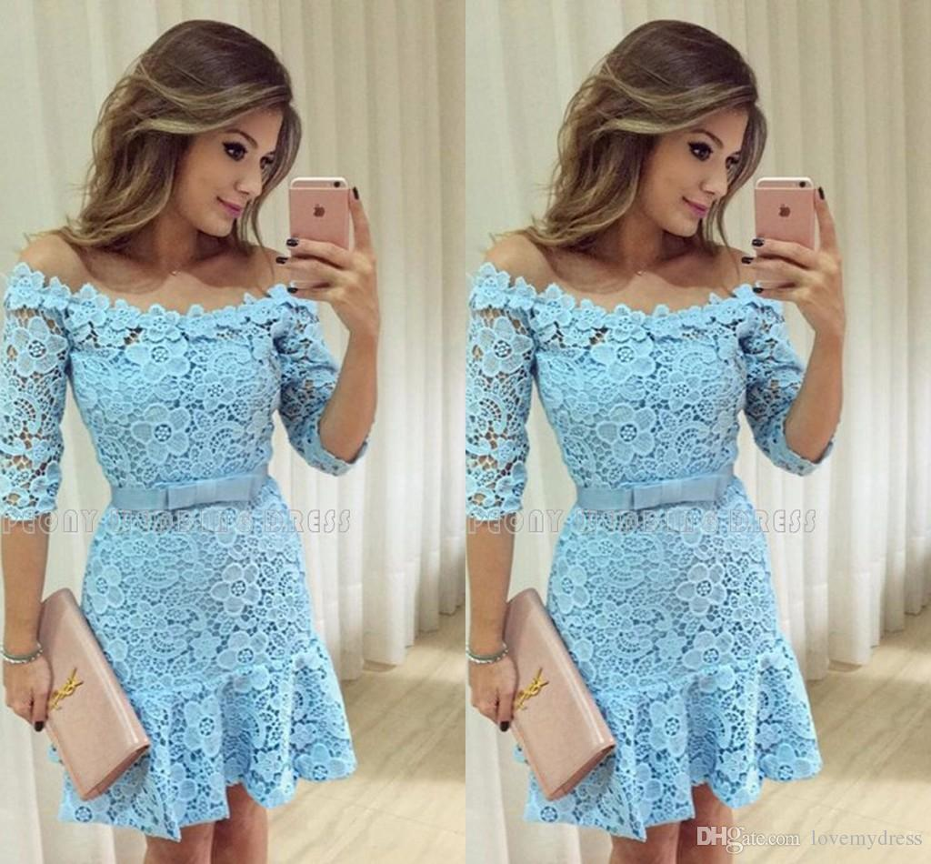 Beautiful Lace Short Mini Prom Dresses 2017 Sky Blue Color Sexy Off the Should Sheer 1/2 Long Sleeve Backless Cheap Homecoming Dress