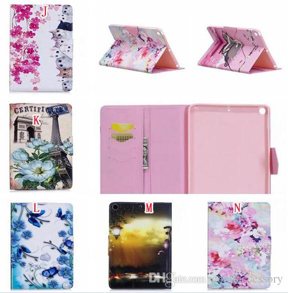 """Leather Pouch Case For Ipad Pro 10.5"""" 2017 Ipad Pro 9.7"""" Tablet Flower Stand Card TPU Cover Cartoon Butterfly Auto Wake Up Sleep Skin"""