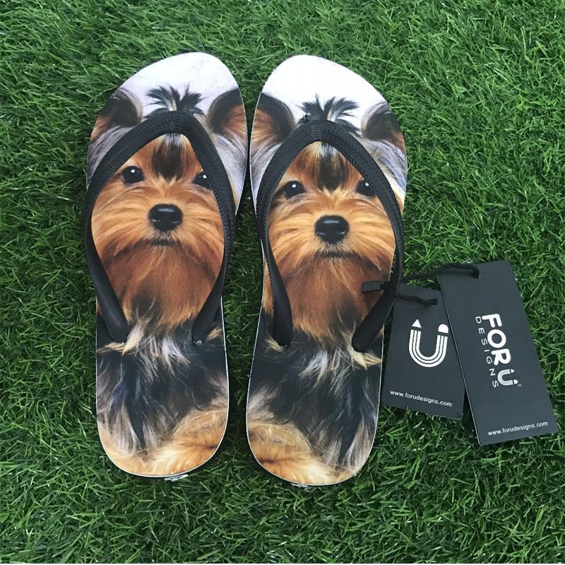 FORUDESIGNS New Fashion Women Slip-on Flip Flops Cute Animal Pug Dog Summer Slippers for Ladies Flat Female 3D Husky Beach Shoes