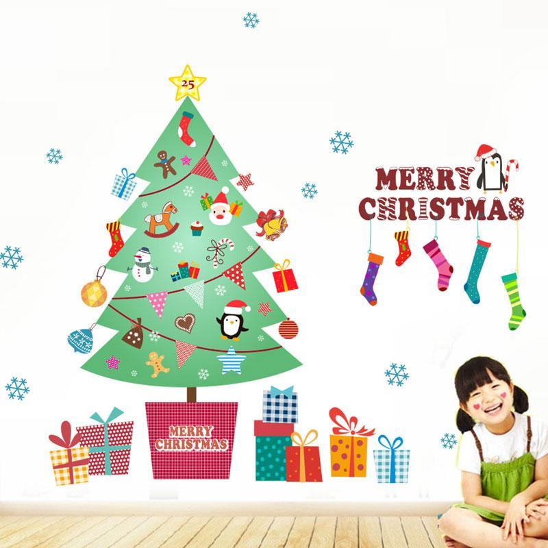 Festival Christmas Tree Merry Christmas Diy Wall Stickers Kids Room Living Room Home Decor 3d Vinyl Xmas Wall Decal Removeable