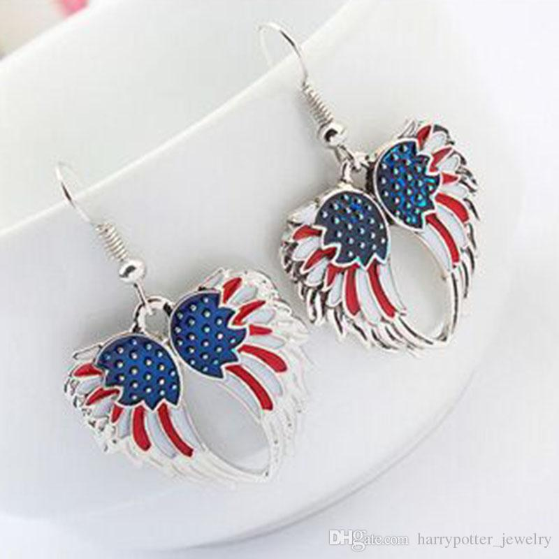 USA Enamel Angel Wing Jewelry Sets For Girls Gift Gold Plated Flag Angel Wings Necklace Earring Set Vintage Ethnic Jewelry 161917