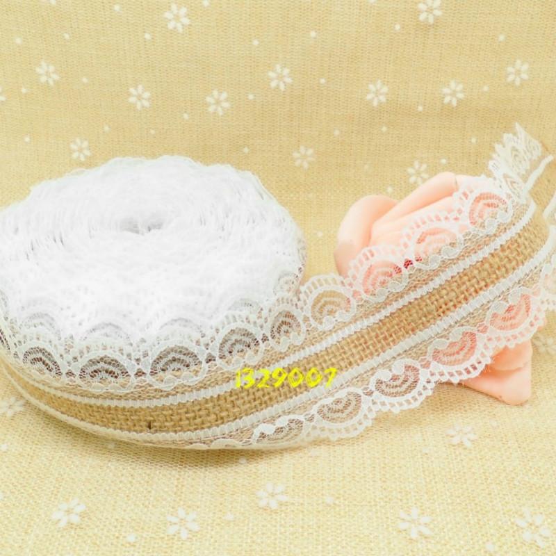 10M Jute Burlap Hessian Lace Ribbon Roll White Black Lace Trim Edge ...