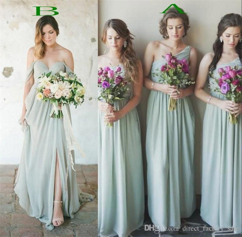 2017 Hot Mint Green Chiffon Bridesmaid Dresses For Summer Beach ...
