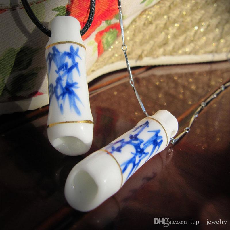 Exquisite personality jewelry pure hand pinched into jewelry four color painted gold and silver Jingdezhen ornaments ceramic necklace