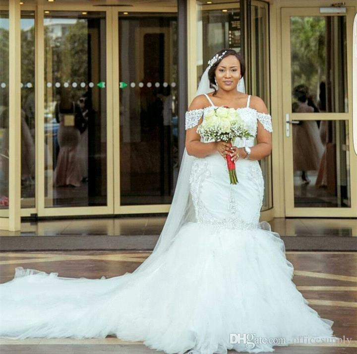 2018 Gorgeous African Appliques Cap Sleeves Lace Mermaid Wedding Dresses Puffy Tulle Long Custom Made Plus Size Sexy Bridal Gowns