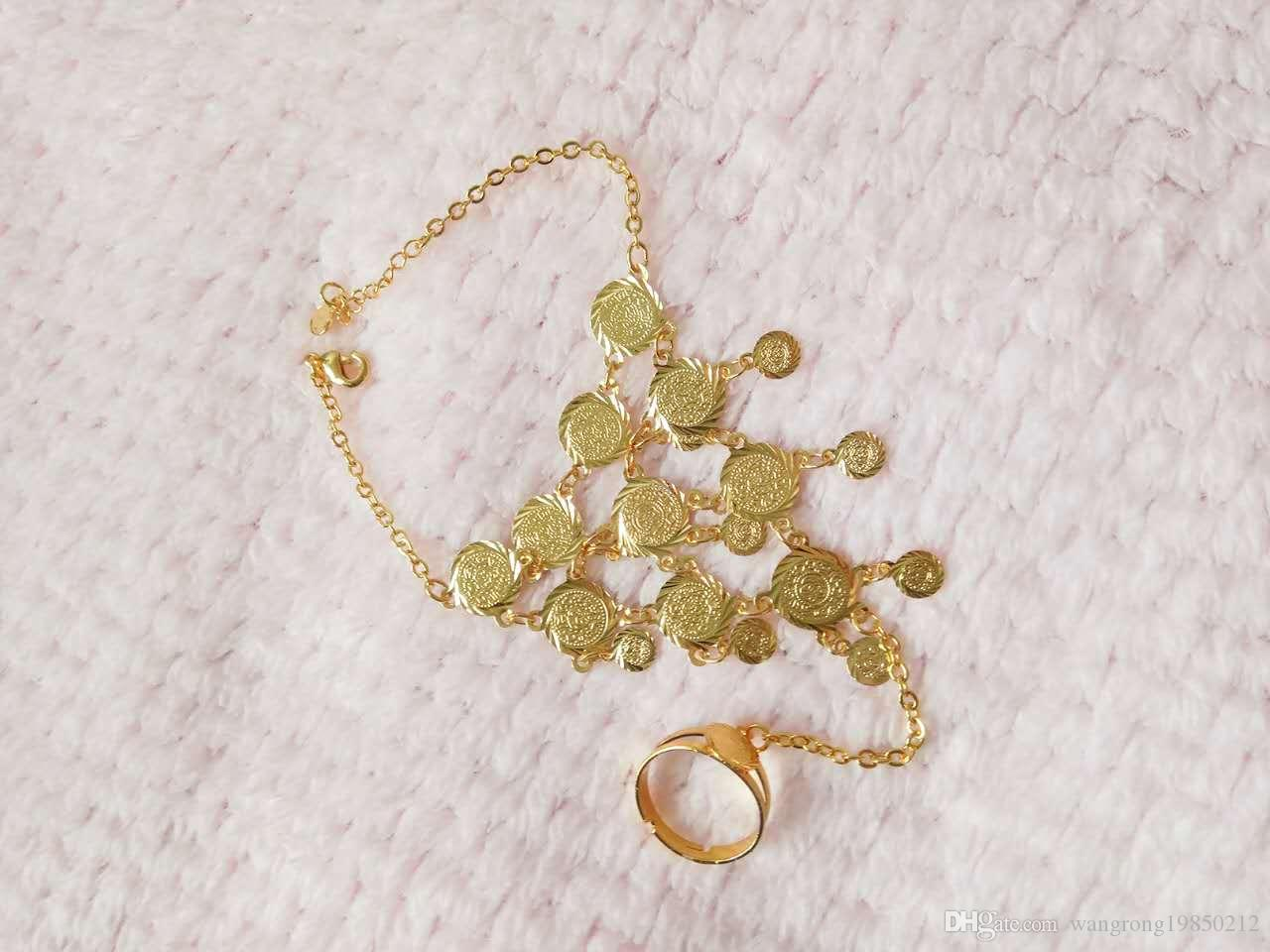 18 k gold plating bracelets with finger ring for women and extender chain one styles