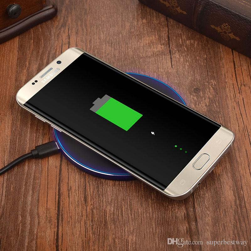 GY-68 Wireless Charger For Galaxy S8 S7 S6 Ultra Thin Qi Fast Charger With Metal Edge Qi Wireless charger Pad OTH684
