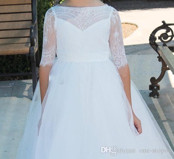 결혼식을위한 흰색 꽃 소녀 드레스 2017 레이스 Bateau Half Sleeves Tulle A Teens 생일 파티 가운