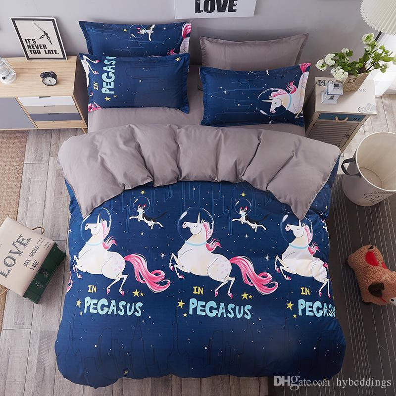 cute unicorn pegasus cartoon bedding set blue duvet cover bed sheet sets single double queen king size polyester fiber beddings super king bedding full size - King Size Bed Sheets