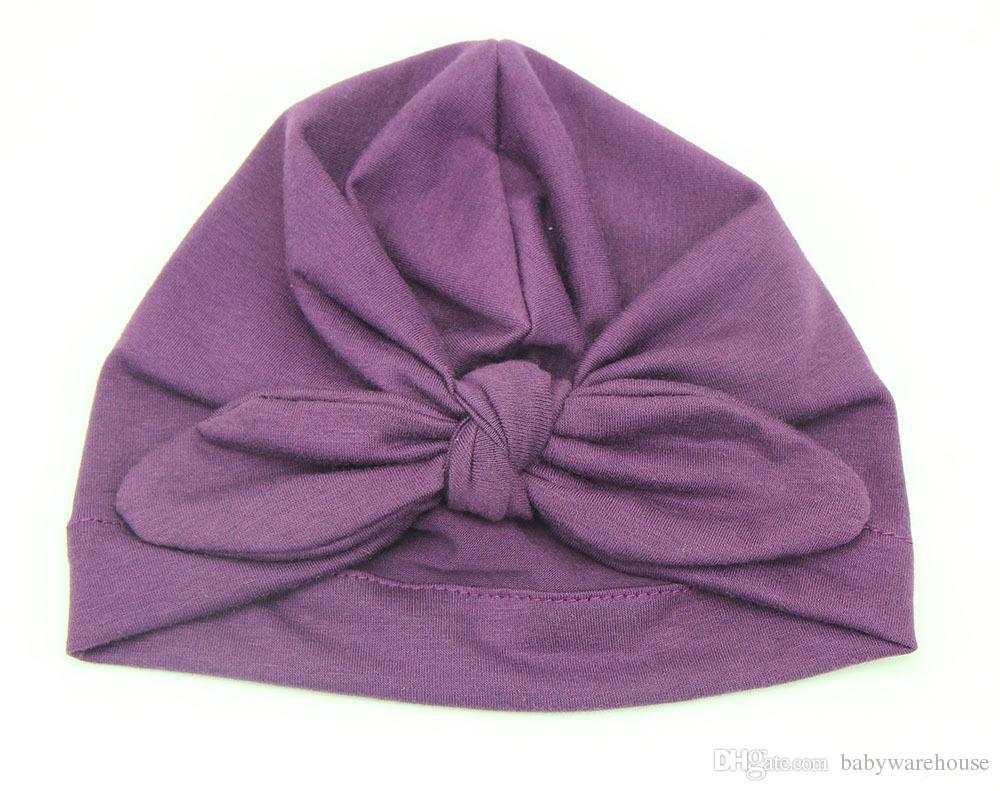 Moda Bebek Şapka Çocuklar Kız Tavşan Kulak Şapka Türban Ilmek Başkanı Sarar Şapka 9 Renkler Bebek Pamuk Şapka Çocuklar Kış Bere Çocuk Şapkalar