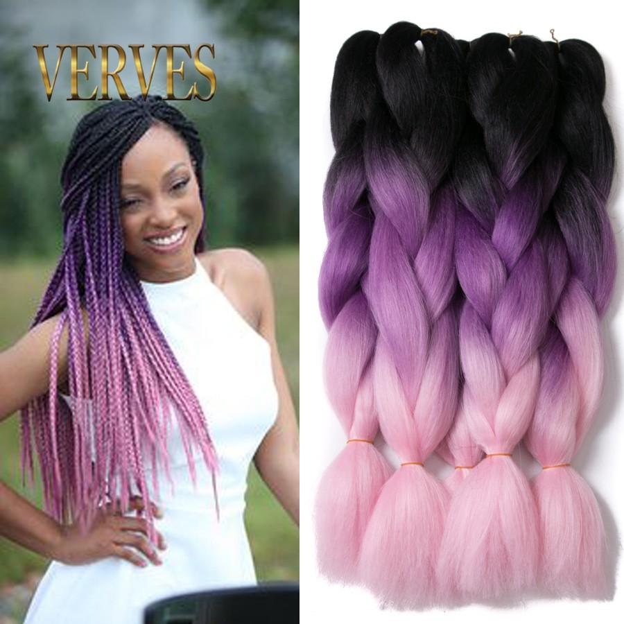 VERVES Ombre Kanekalon Braiding Hair braid Synthetic purple pink High Temperature Fiber Kanekalon Jumbo Braid Hair Extensions