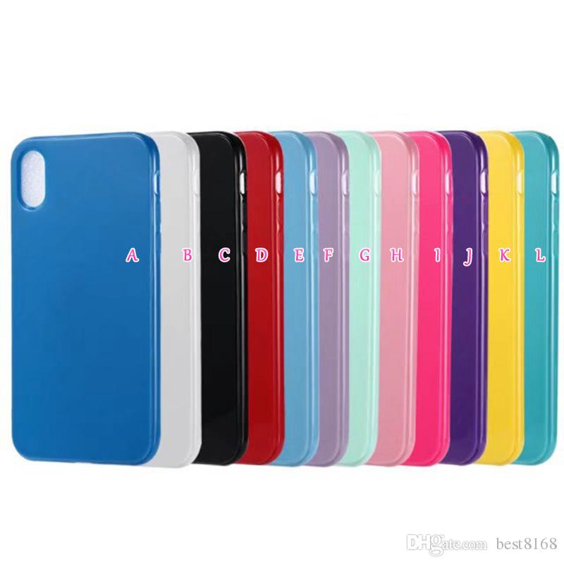 Fashion Bling Candy Glossy Soft TPU Case For Iphone XR 6.1 XS MAX 6.5inch X XS 8 7 6s Plain Silicone Cover Gel Colorful Cell phone Back Skin