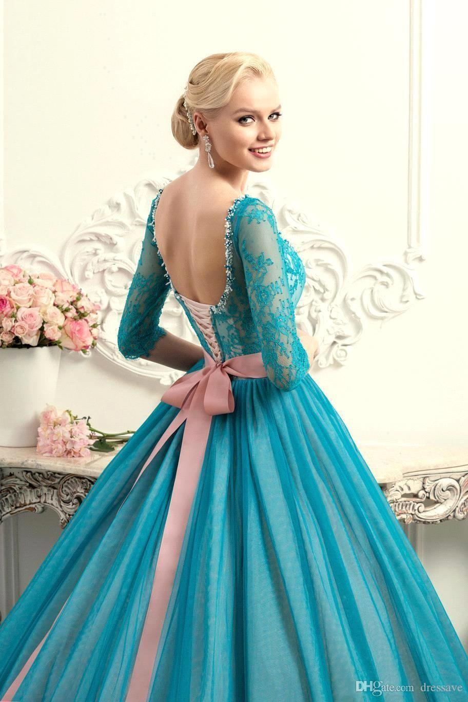 2017 New Sexy Teal Hunter Lace Ball Gown Plus Size Quinceanera Dresses Scoop Lace Up with Half Sleeve Floor Length Sweet 16 Prom Dress