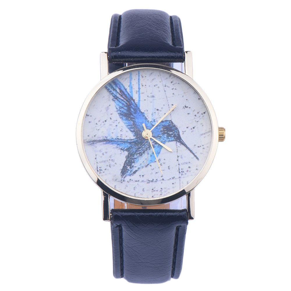 Orologio al quarzo con marchio orologi da donna Orologio da polso da donna analogico in pelle con motivo a uccelli