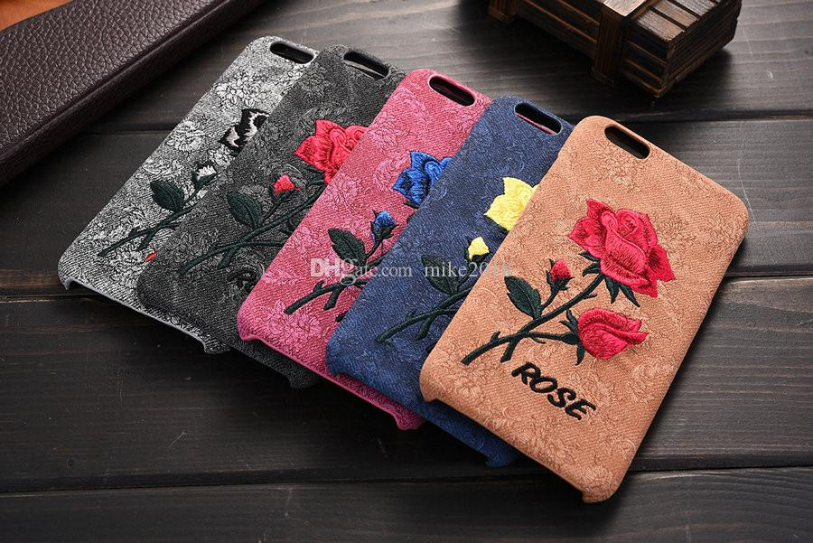 on sale 81a6d d2978 Elegant Embroidery Rose Flower phone Case for iPhone 7 6 6S Plus Girl Women  Stylish Vintage Back Cover for iPhone 6 6s 7 Plus