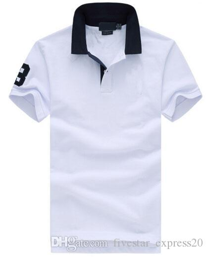 7cb5f3a8bdec9 Compre Os Recém Chegados Moda Sólida Casual Camisa Polo Homens Big Horse  Bordado Lapela Algodão Prl Polos 2017 Número 3 Branco Azul De  Fivestar express20