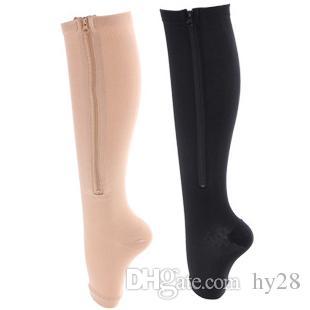 c1e55a18de580d 2019 New Men Women Thin Leg Burn Fat Varicose Veins Socks Stovepipe Zip Up Zipper  Compression Sports Socks Open Toe Sock Wholesales From Hy28, ...
