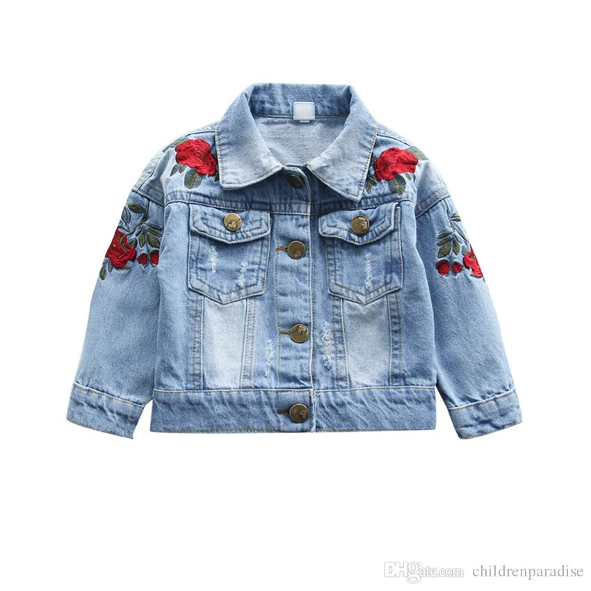 f7f30cabd3ae Baby Girls Rose Flower Embroidery Denim Jacket Vintage Jeans Jackets ...