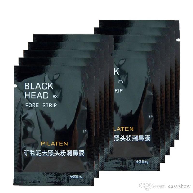 ALTA CALIDAD PILATEN Máscara de Succión Negra Cuidado Facial Máscara Limpieza Estilo Rasgado Tira de Poro Limpieza Profunda Nariz Máscara Facial Espinilla Acne