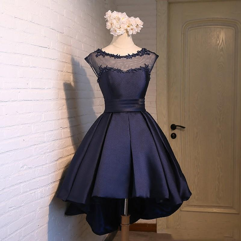 Scoop Neck Lace Satin High Low Cocktail Dress Lace Up 2018 Elegant Prom Dress Navy Blue Pink Red Party Dress