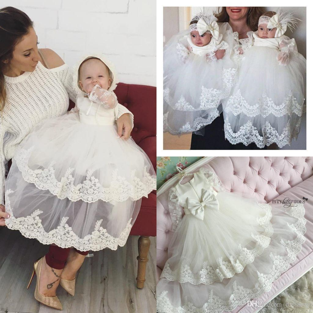 2018 Adorable Newborn Tiered Christening Dresses Long Sleeves For ...