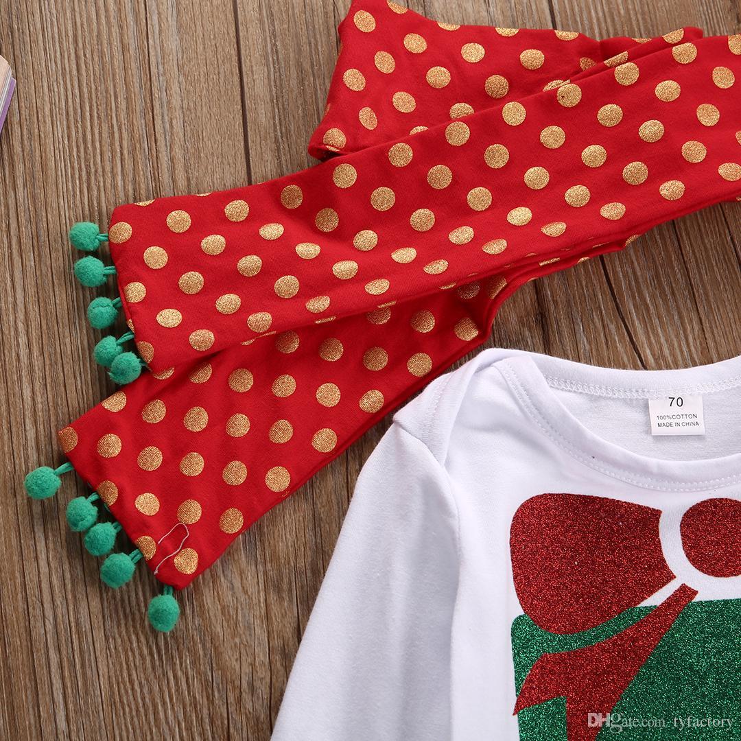 2017 Горячих продажа способа малышей костюмы Baby Boy девушка рождественские наборы новорожденных Ромперы + стяжка Bodysuits Комплекты Одежда Комплекты 0-2оГО Fact