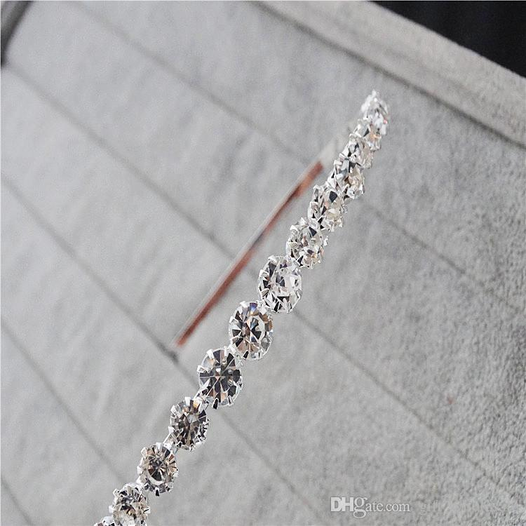 Best Selling Sparking One Row Rhinestone Clear Crystal Tiara Headband for Wedding Party Hair Accessories Bridal Jewelry for kids gift
