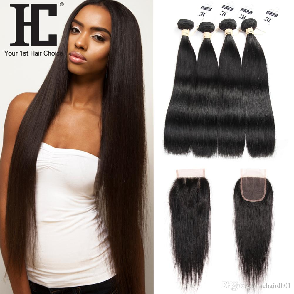 Straight Peruvian hair with closure images