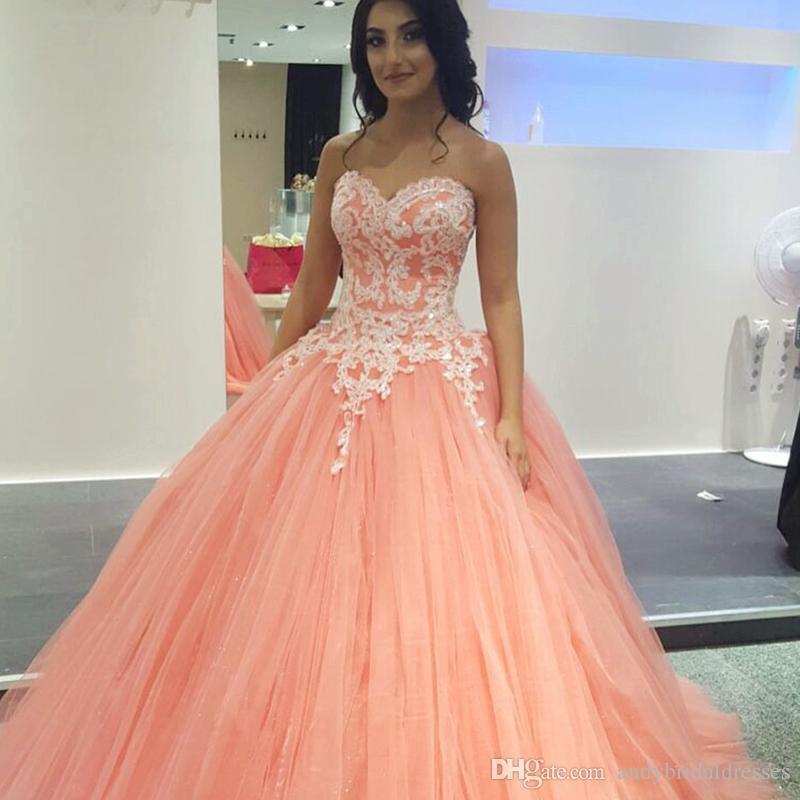 Güzel Sevgiliye 2019 Mercan Quinceanera elbise Balo Dantel Aplike Tatlı 16 Elbiseler Kat Uzunluk vestidos de quinceañera