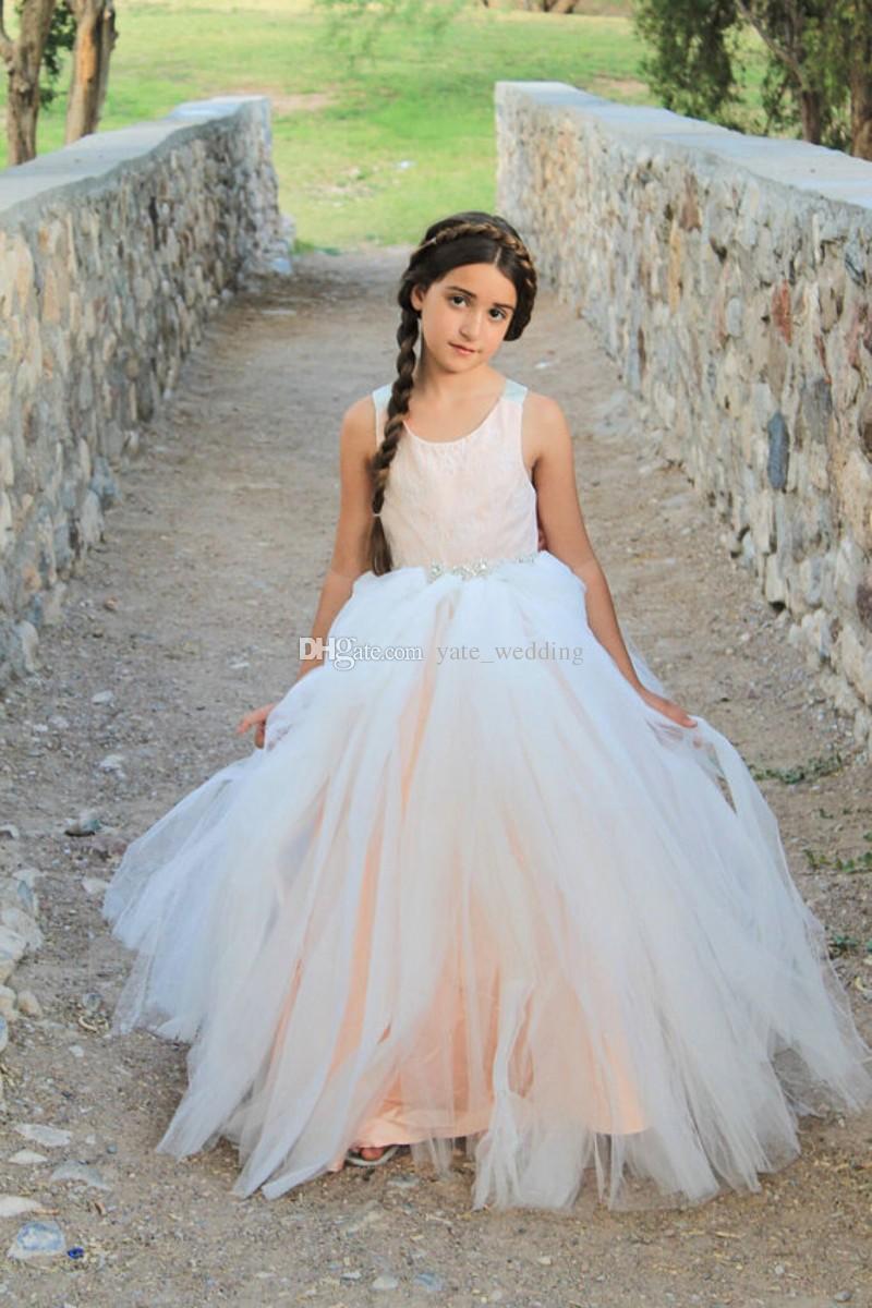 Blush Rose Princesse Dentelle Tulle Fleur Filles Robes De Mariage Cristal Ceintures Grand Arc Dos Nu Bohème Enfants Robes De Fête De Mariage