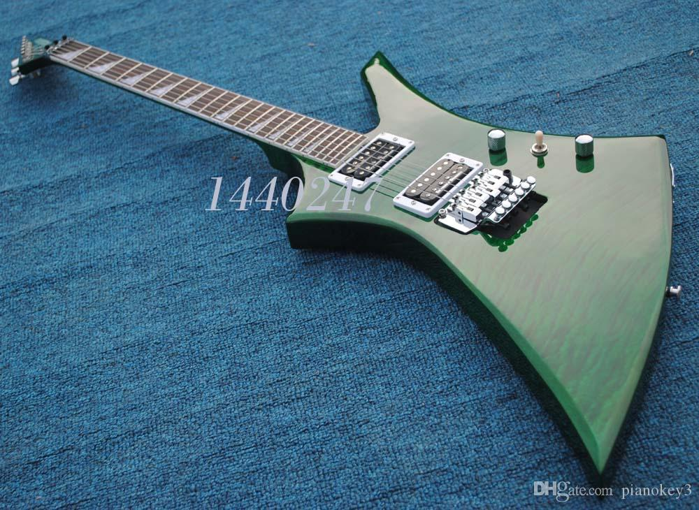 Custom guitar store,Green flame maple top,Flame maple neck,China made guitars electric