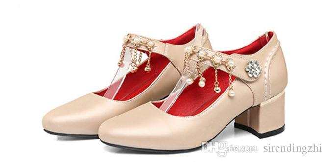Spring and summer sweet high-heeled buckle shoes with Beaded a rough documentary all-match fashion models dancing shoes