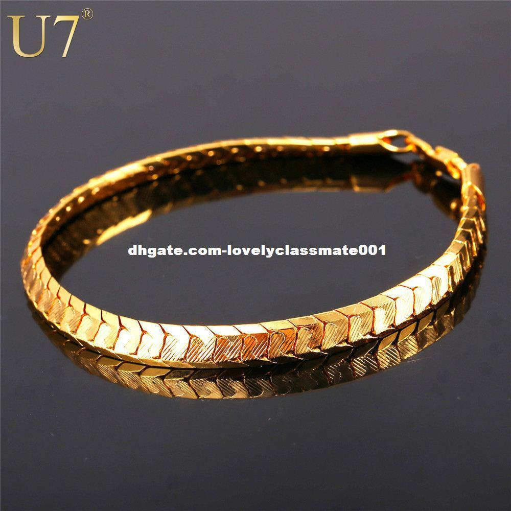 U7 Scale Chain Bracelets For Men Jewelry Gold Platinum Plated Mens