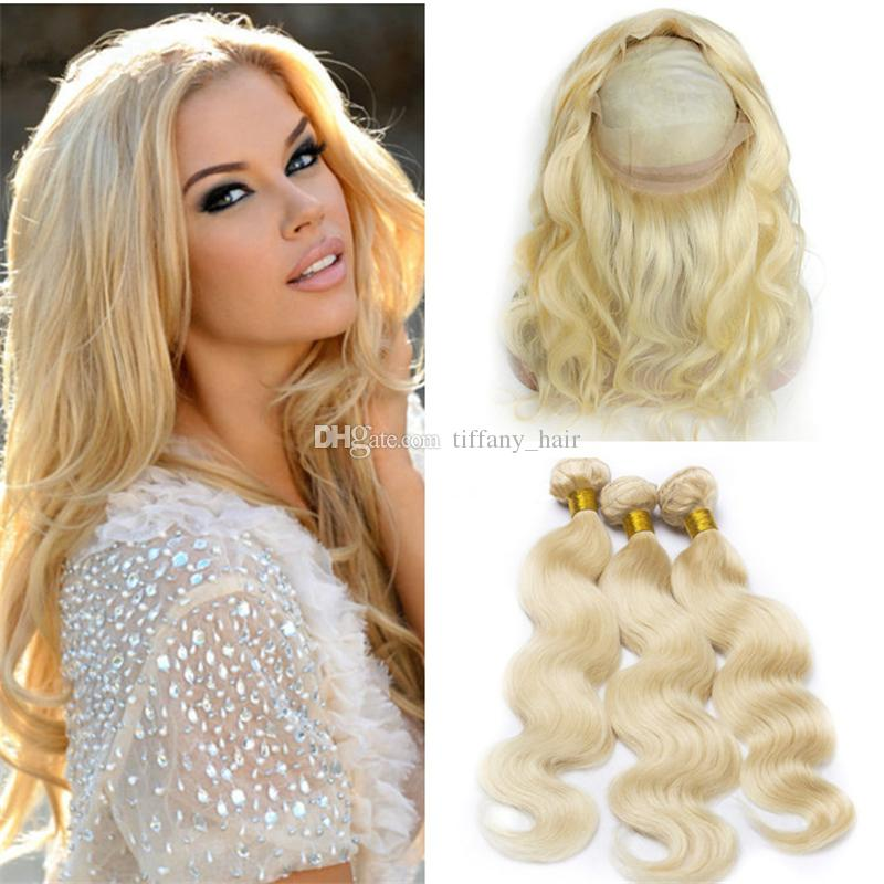 Cheap platinum blonde 360 lace frontal closure with bundles 613 cheap platinum blonde 360 lace frontal closure with bundles 613 bleach blonde body wave brazilian virgin hair with 360 full lace band frontals natural hair pmusecretfo Image collections