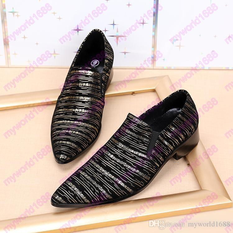 2017 New Gold Metal Toe Genuine Leather Zebra Stripes Slip On Men Dress Shoes Male Slipper Loafers Footwear