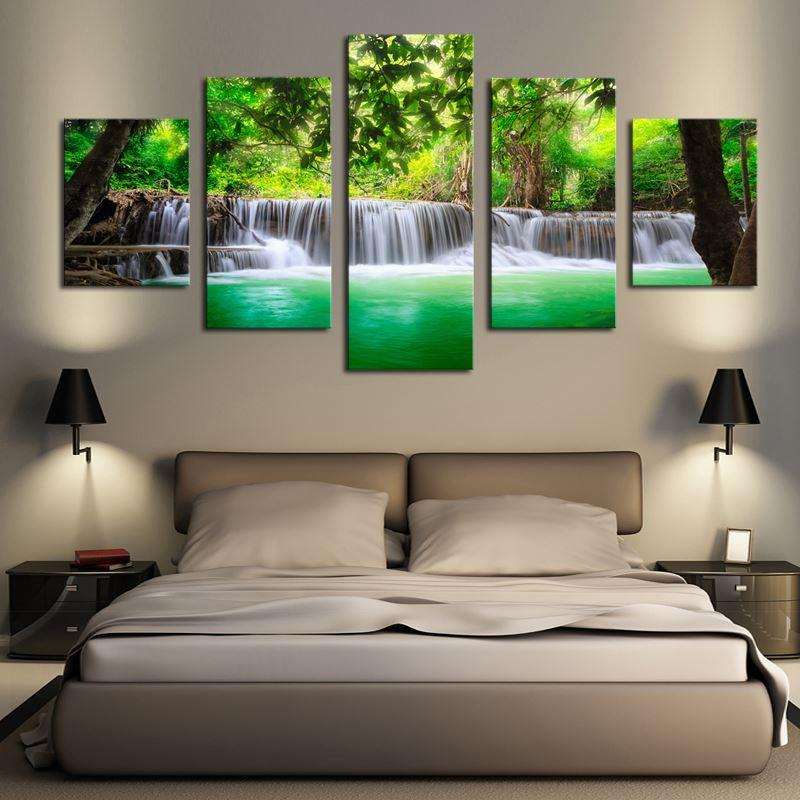 2018 No Frame 5 Panels Green Waterfall Scenery Canvas Print Painting ...