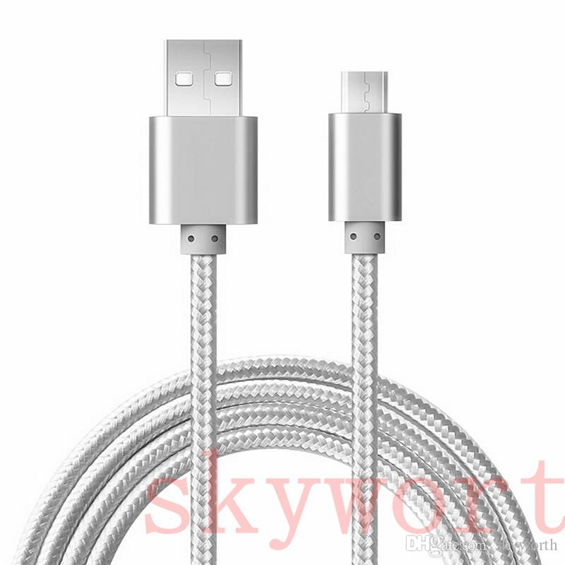Good Quality 3Ft 1M Micro usb Fabric Braided Nylon Sync Universal Micro USB Cable Cord Extra Long Extension