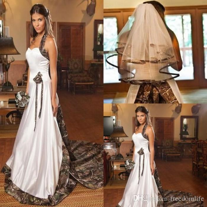 Fashion Vintage Camo Wedding Dress with Veils Halter Custom Made Chapel Train Cheap Camouflage Bridal Gowns