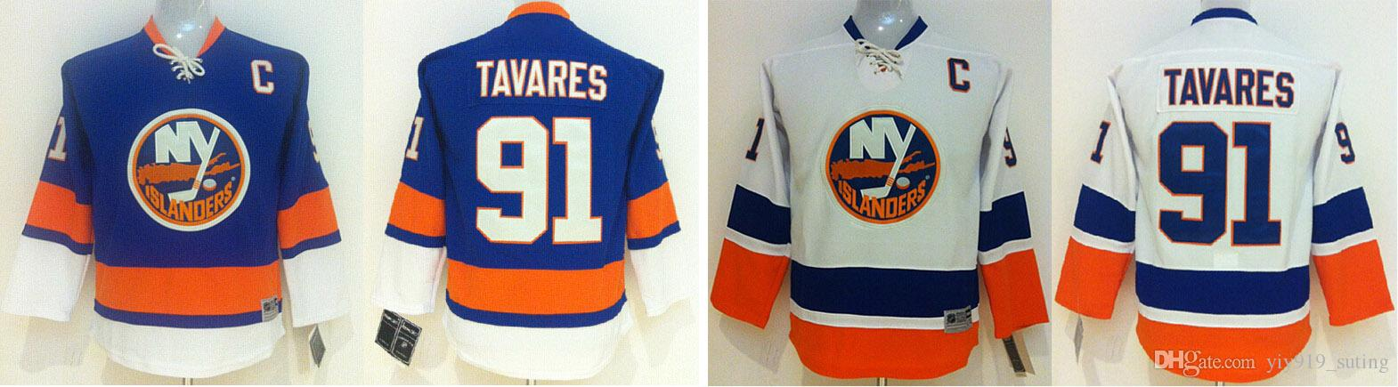 High Quality New York Islanders Kids Jerseys 91 John Tavares Blue White Ice  ... 656369c06