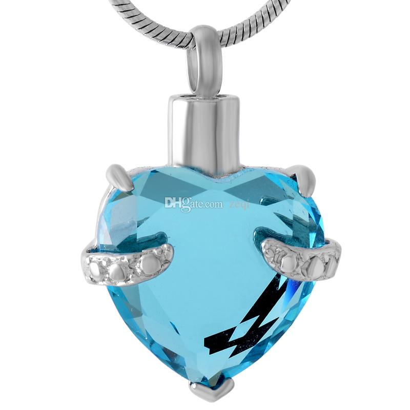 IJD8072 Heart Crystal Stainless Steel Plate Cremation Pendant Necklace Memory Ashes Keepsake Urn Holder Necklace (pendant only)