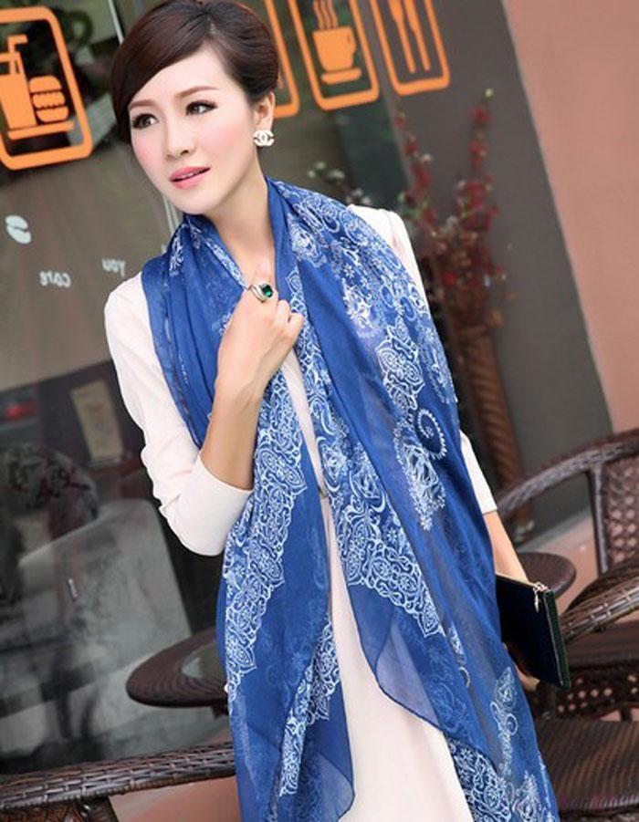 Женская Печать Синий И Белый Фарфор Длинный Мягкий Шарф Wrap Шаль