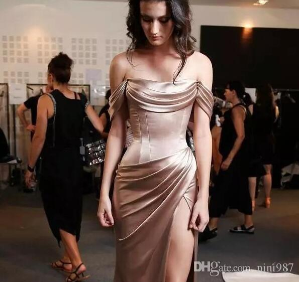Elegant Boat Neckline Sweep Train Evening Dress Sexy Front Split Stain Event Dress Celebrity Dress Formal Dark Champagne Eveing Gowns
